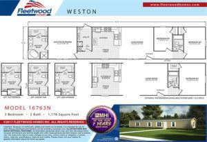 Fleetwood Weston 16763N Mobile Home Floor Plan